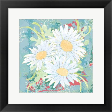 Framed Daisy Patch Teal II Print