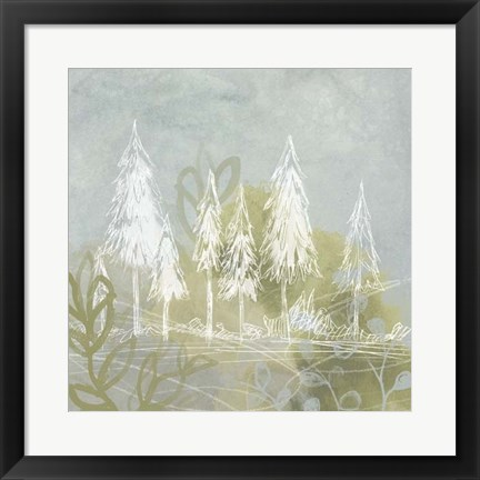 Framed Treeline Collage I Print