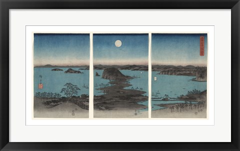 Framed Kanazawa in Moonlight, 7th month, 1857 Print