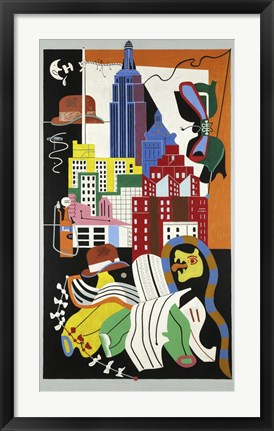 Framed New York Mural, 1932 Print