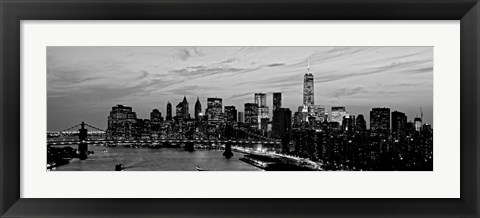 Framed Lower Manhattan at dusk Print