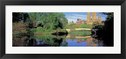 Framed Bow Bridge and Central Park West View, NYC Print