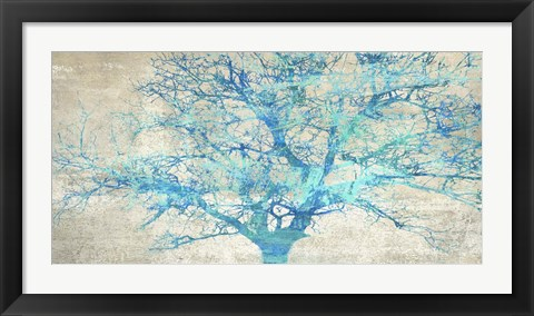 Framed Turquoise Tree Print
