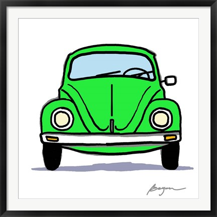 Framed Green Bug Print