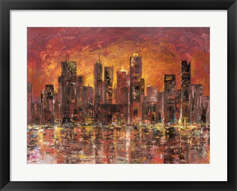 Framed Sunset in New York Print