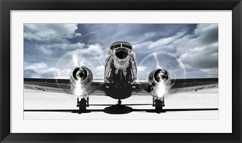 Framed Airplaine Taking Off in a Blue Sky Print