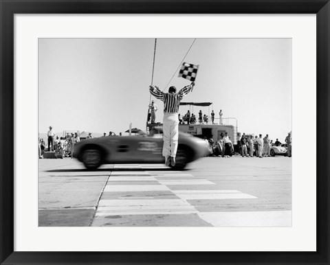Framed Man Jumping Waving Checkered Flag Print