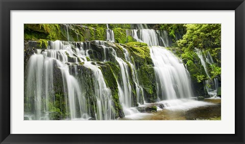 Framed Waterfall Purakaunui Falls, New Zealand Print
