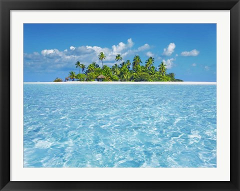 Framed Tropical Lagoon with Palm Island, Maldives Print