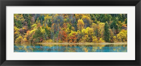 Framed Lake And Forest In Autumn, China Print