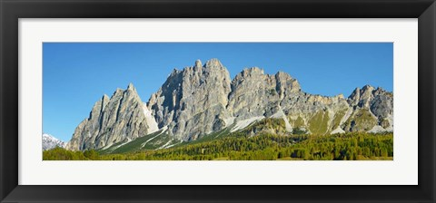 Framed Pomagagnon and Larches in Autumn, Cortina d'Ampezzo, Dolomites, Italy Print