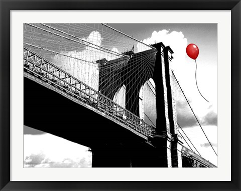 Framed Balloon over Brooklyn Bridge Print