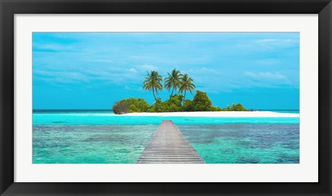Framed Jetty and Maldivian island Print