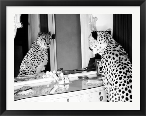 Framed Cheetah Looking in Mirror Print