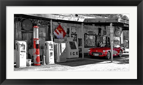 Framed Vintage Gas Station on Route 66 Print