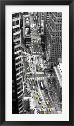 Framed Yellow Taxi in Times Square, NYC Print