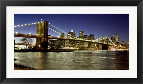 Framed Panoramic View of Lower Manhattan at dusk, NYC Print