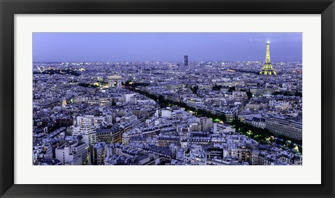 Framed Aerial View of Paris at Dusk Print