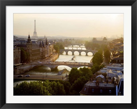 Framed Bridges over the Seine River, Paris Print