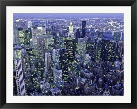 Framed Manhattan Skyline at dusk, NYC Print