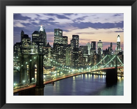 Framed Brookyn Bridge and Downtown skyline, NYC Print