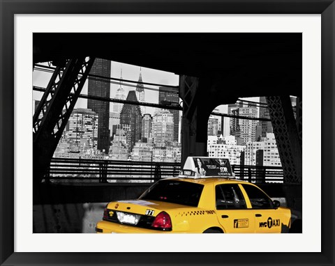 Framed Taxi on the Queensboro Bridge, NYC Print