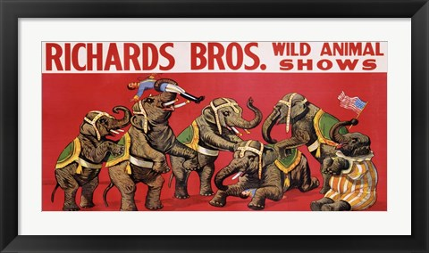Framed Richards Bros. Wild Animal Shows, ca. 1925 Print