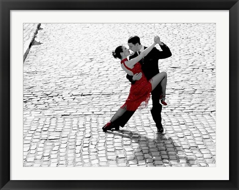 Framed Couple Dancing Tango on Cobblestone Road Print