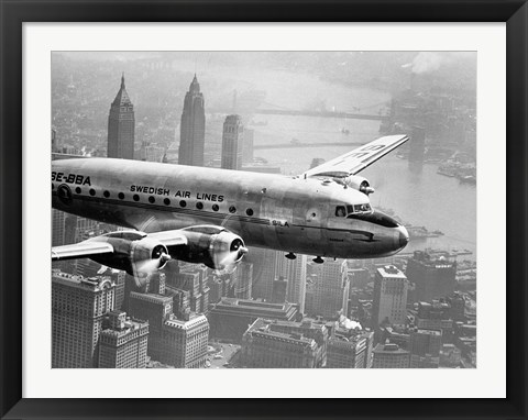 Framed Aircraft Flying over City, 1946 Print