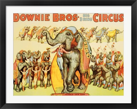 Framed Downie Bros. Big 3 Ring Circus, 1935 Print