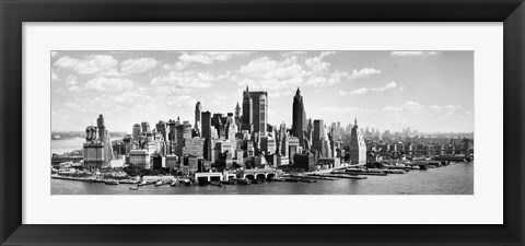 Framed Manhattan Waterfront (detail) Print