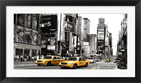 Framed Taxi in Times Square, NYC Print