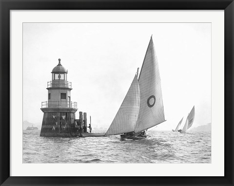 Framed Sloop and Channel Pile Light on Sydney Harbour Print