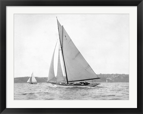 Framed Victorian sloop on Sydney Harbour, 1930 Print