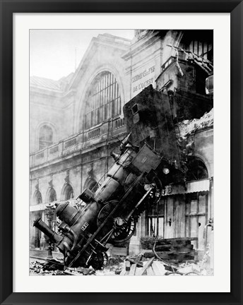 Framed Train wreck at Montparnasse, Paris, 1895 Print
