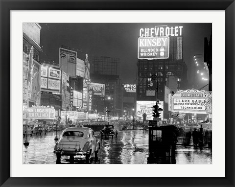 Framed Times Square at Night, NYC, 1951 Print