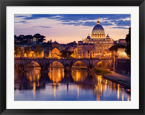 Framed Night View at St. Peter's Cathedral, Rome Print