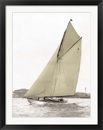 Framed Victorian Sloop on Sydney Harbour Print