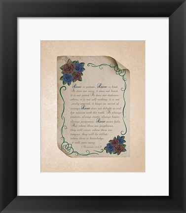 Framed Corinthians 13:4-8 Love is Patient - Rose Border Beige Print