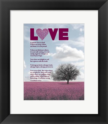 Framed Corinthians 13:4-8 Love is Patient - Pink Field Print