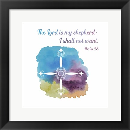 Framed Psalm 23 The Lord is My Shepherd - Cross 1 Print