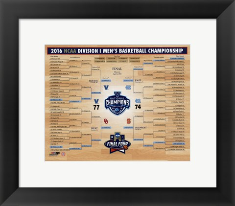 Framed Villanova Wildcats 2016 NCAA Men's Basketball National Champions Bracket Print