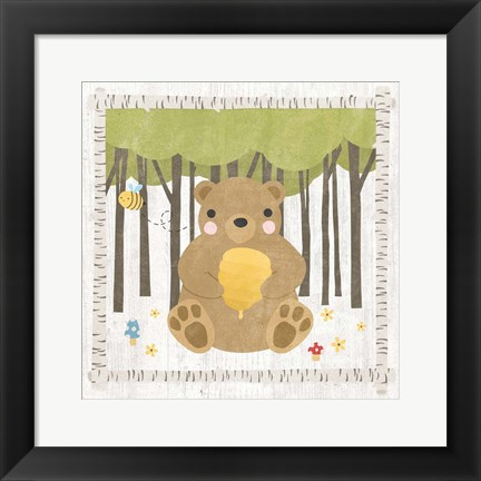 Framed Woodland Hideaway Bear Print