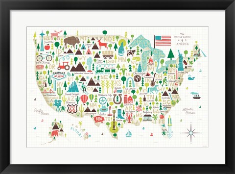 Framed Illustrated USA Print