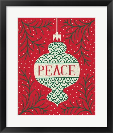 Framed Jolly Holiday Ornaments Peace Print