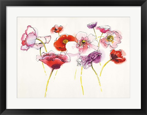 Framed Pink and Red Somniferums Print