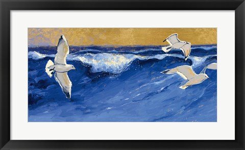 Framed Seagulls with Gold Sky Print