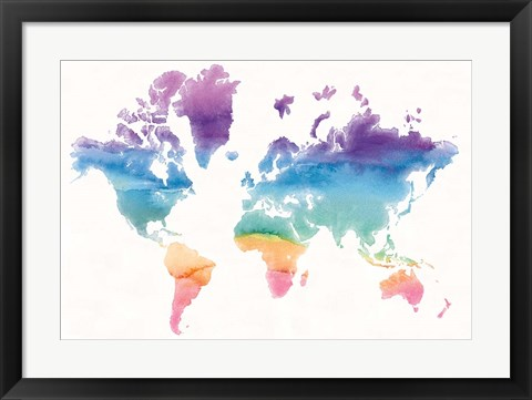 Framed Watercolor World Print