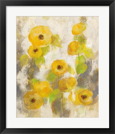 Framed Floating Yellow Flowers II Print