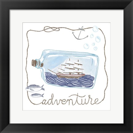 Framed Ship in a Bottle Adventure Print